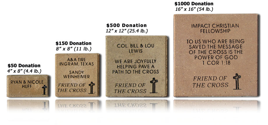 individual shot of 4 concrete pavers for The Coming King Foundation Sculpture Prayer Garden