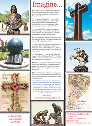 A full page ad showing The Coming King Foundation Sculpture Prayer Garden and Max Greiner's Sculptures, The Empty Cross, The Coming King, The Great Commission, The Divine Servant, Fisher of Men